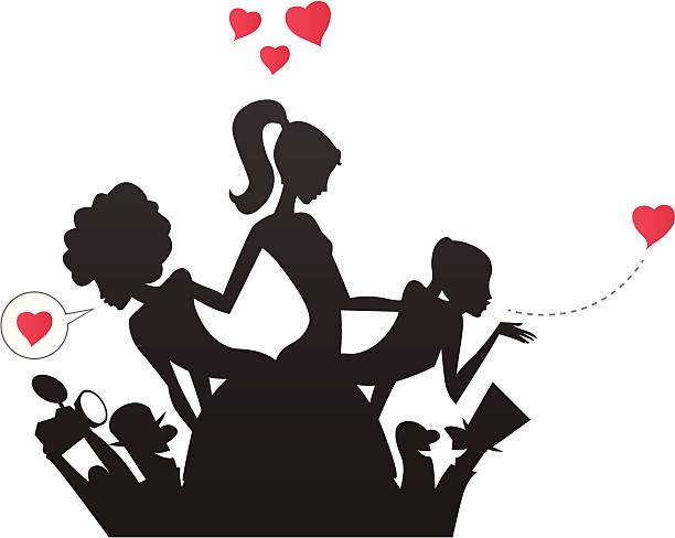 Celebridades meninas e Paparazzi silhuetas - ilustração de arte em vetor