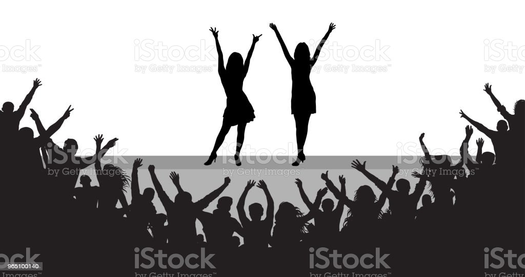 Celebrities on scene, cheerful people audience, silhouette. Vector royalty-free celebrities on scene cheerful people audience silhouette vector stock illustration - download image now