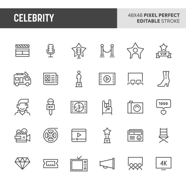 illustrations, cliparts, dessins animés et icônes de jeu d'icônes de célébrité - camera sculpture