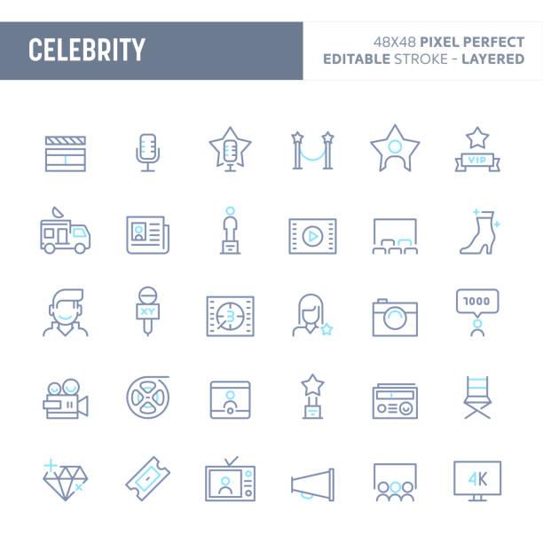 stockillustraties, clipart, cartoons en iconen met celebrity minimale vector icon set (eps-10) - acteur