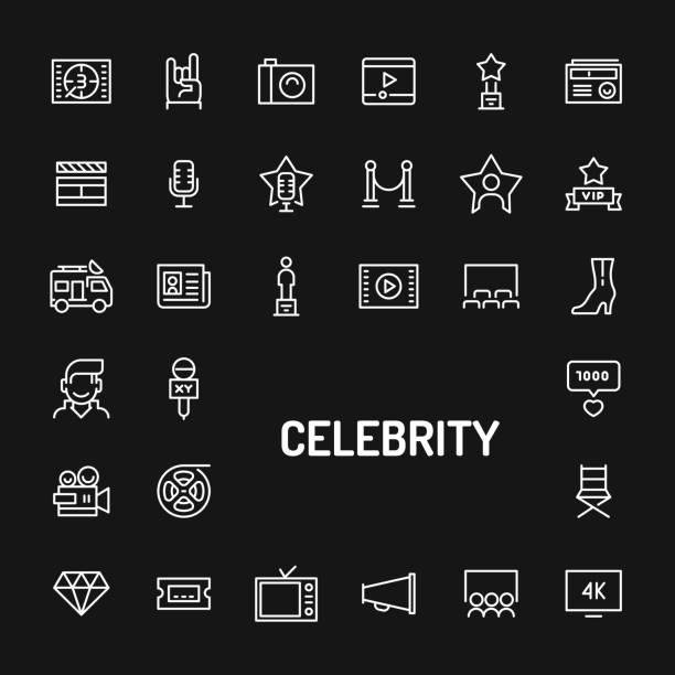 illustrations, cliparts, dessins animés et icônes de célébrité & superstars simple ligne icon set - camera sculpture
