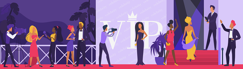 Celebrity vip party vector illustration, cartoon flat superstar woman man character walking on red carpet, paparazzi taking photo by famous star actor background