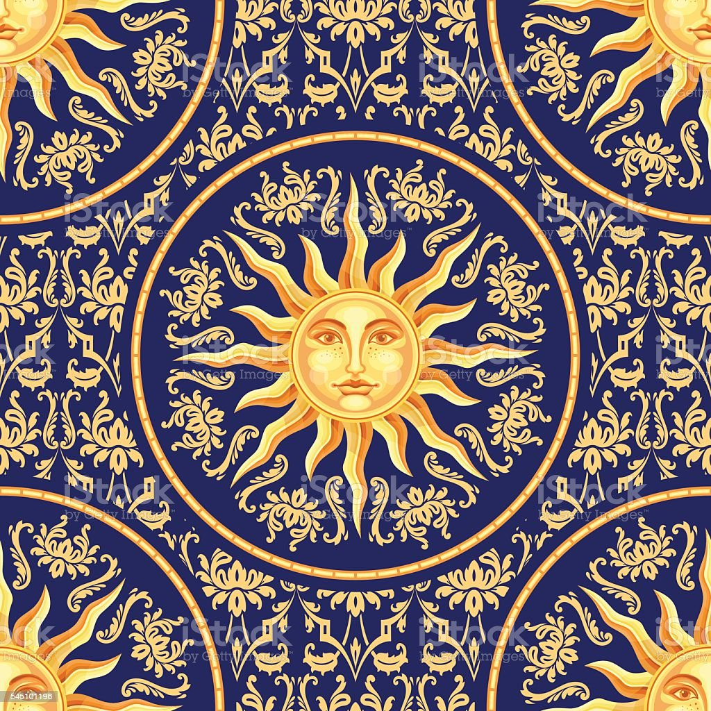 Celestial baroque seamless pattern with sun face vector art illustration