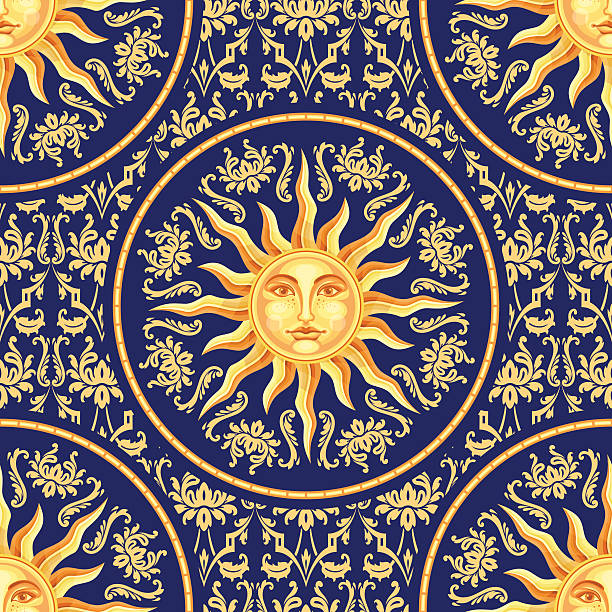 celestial baroque seamless pattern with sun face - renaissance style stock illustrations, clip art, cartoons, & icons