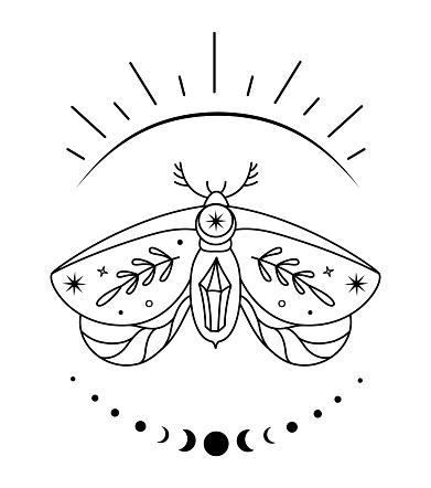 Celestial butterfly. Vector boho outline moth. Mystic abstract design.