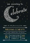 Celebration Party Invitation with elegant lacy moon and celestial stars. Room for your copy.