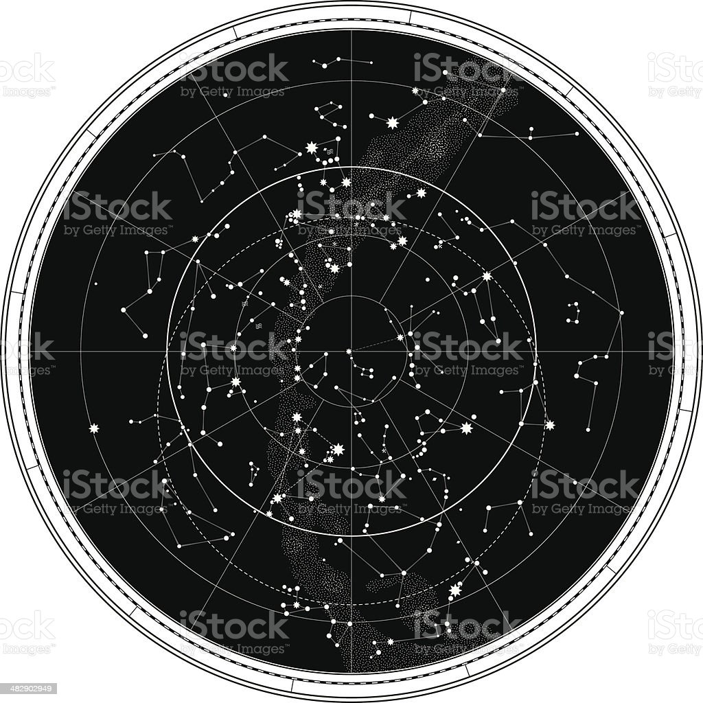 Celestial Map of The Night Sky royalty-free stock vector art
