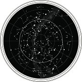 Celestial Map of The Night Sky. Astronomical Chart of Northern Hemisphere.