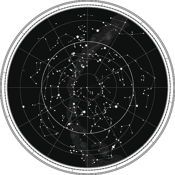ilustrações de stock, clip art, desenhos animados e ícones de mapa celeste do céu nocturno - mapa das estrelas