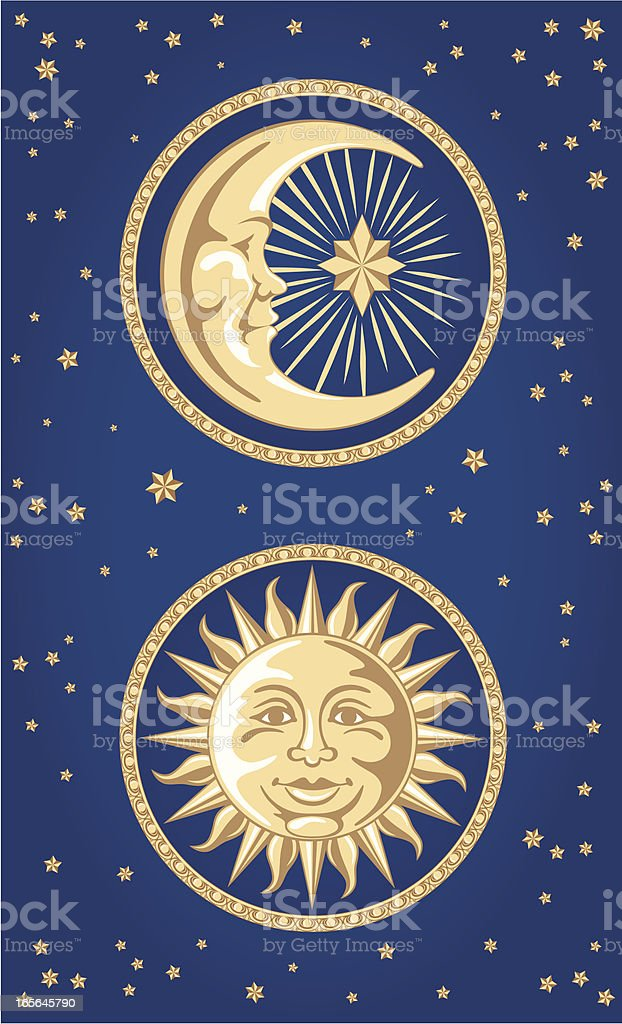 Celestial Moon & Sun Ornaments vector art illustration