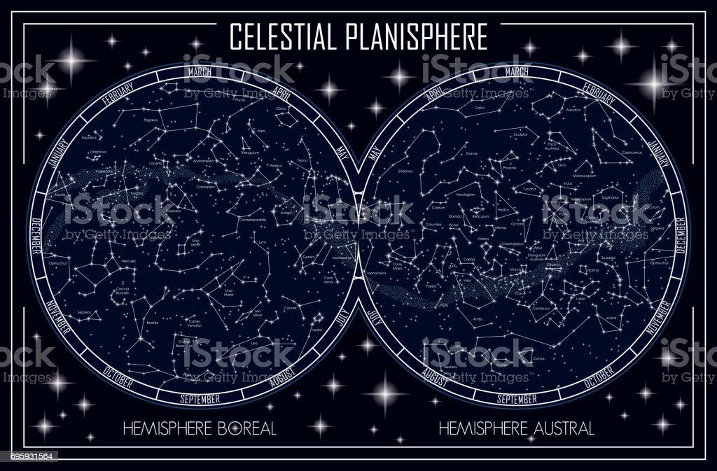 celestial planisphere vector art illustration