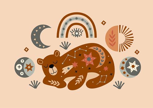 celestial poster with bear, moon, rainbow