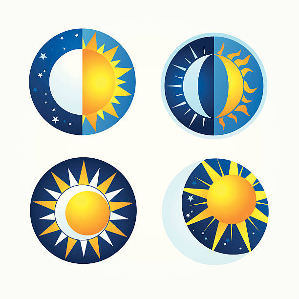 Celestial stages of the sun and the moon vector art illustration