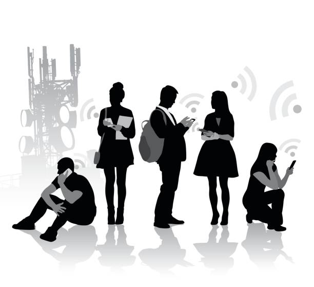 Cell Addiction A vector silhouette illustration of young men and women paying attention to their cell phones with the wifi symbol emitting from it.  A cell tower is in the background. repeater tower stock illustrations
