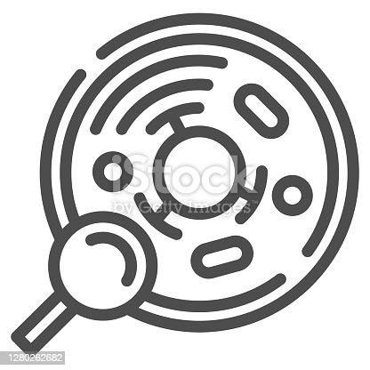 Cell analysis line icon, Medical tests concept, Bacteriological test sign on white background, Molecular structure analysis and magnifying glass icon in outline style. Vector graphics