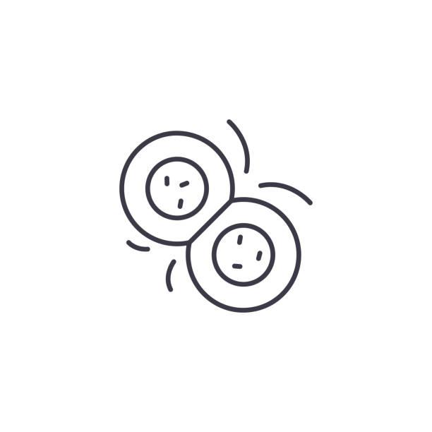 細胞分裂線性圖示概念。細胞分裂線向量符號, 符號, 插圖。向量藝術插圖