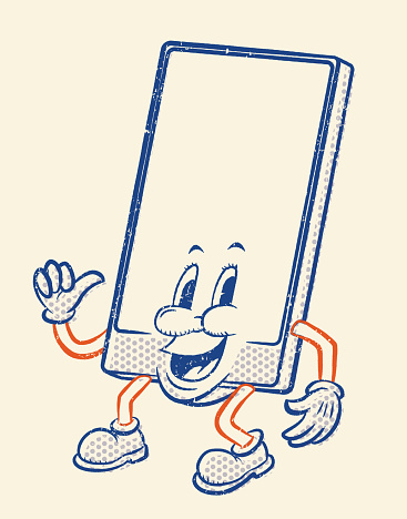 Cell Phone character in comic retro style