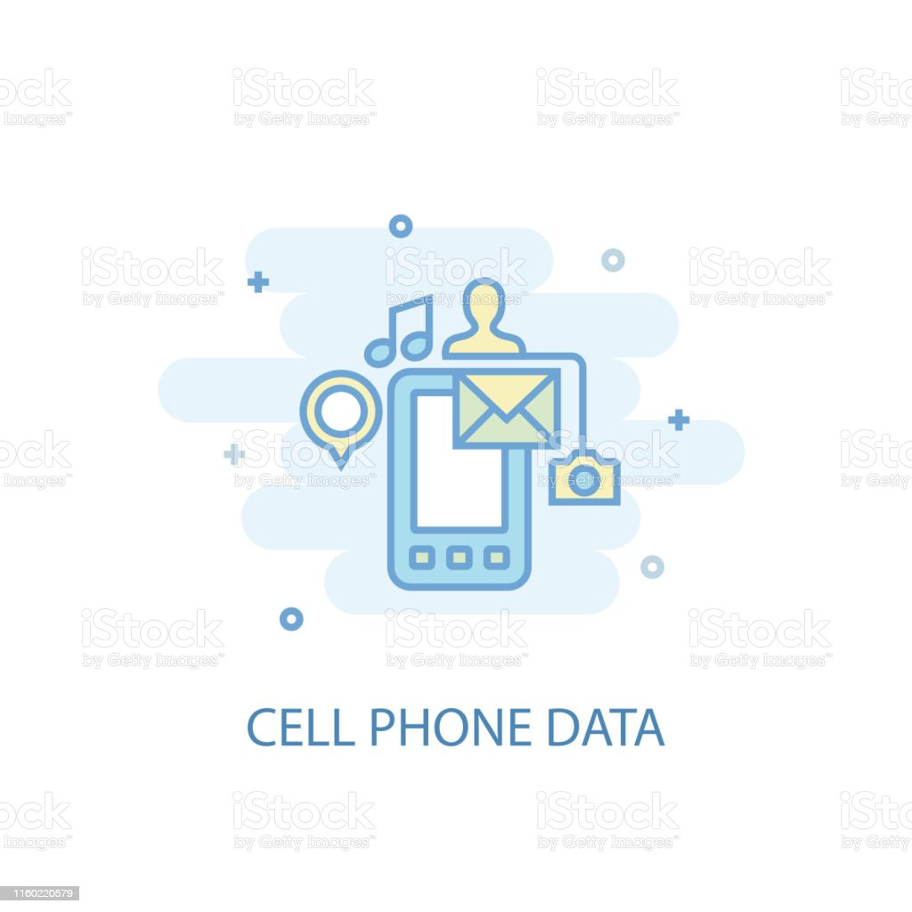 Cell phone data line trendy icon. Simple line, colored illustration....