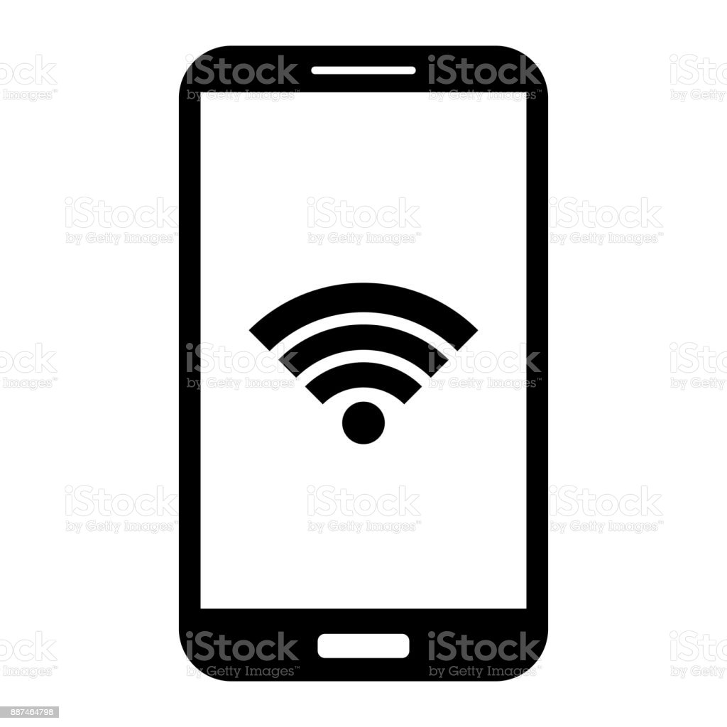 Cell phone icon. Android smartphone with touch ID, isolated. White screen with WI