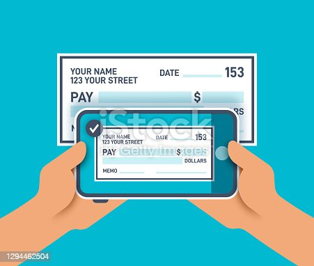 istock Cell Phone Taking a Photo of a Check for Mobile Deposit 1294462504