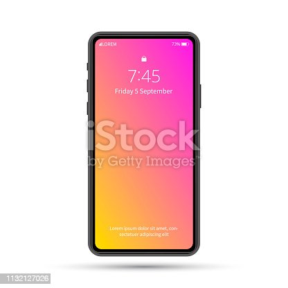 Isolated cell phone mockup. Vector phone illustration. Vector electronic device. Colorful phone template.