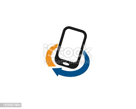 istock cell phone touch apps icon for circular recycle process arrow under company 1325507954