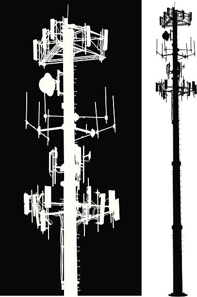 """Cell Phone Tower - Global Communication Cell Phone Tower - Global Communication. Tight silhouette illustration of a cell phone tower. Scale to any size. Check out my """"Communication Talk"""" light box for more. repeater tower stock illustrations"""