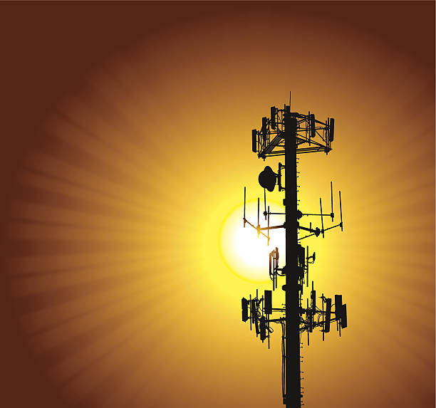 """Cell Phone Tower - Telecommunications Background Cell Phone Tower - Telecommunications Background. Graphic silhouette background illustration of a cell phone tower. Check out my """"Communication Talk"""" light box for more. repeater tower stock illustrations"""
