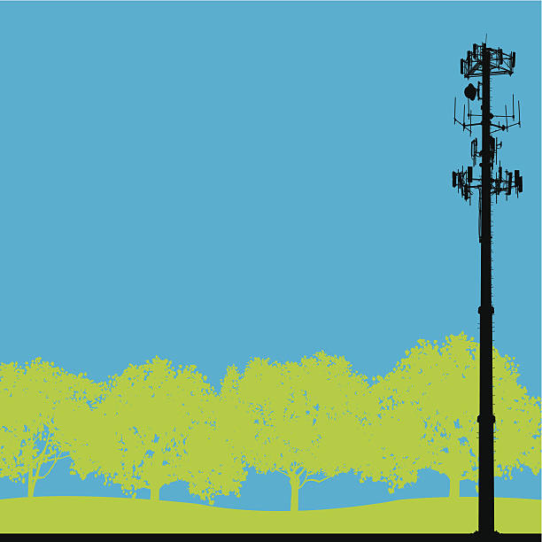 """Cell Phone Tower - Telecommunications Background Silhouette illustration of a cell phone tower. Check out my """"Communication Talk"""" light box for more. repeater tower stock illustrations"""