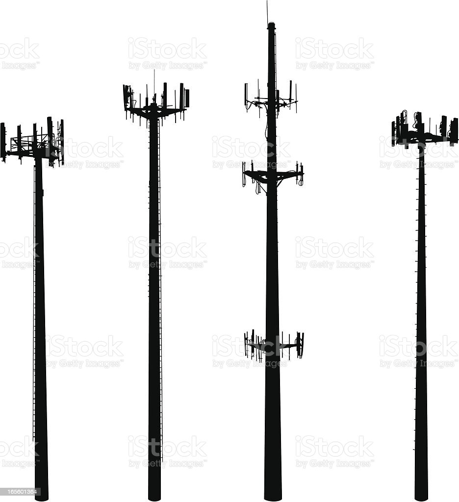 Cell Phone Towers They're big, they're ugly and they're multiplying!  Vector silhouettes of four cell phone towers. Communication stock vector