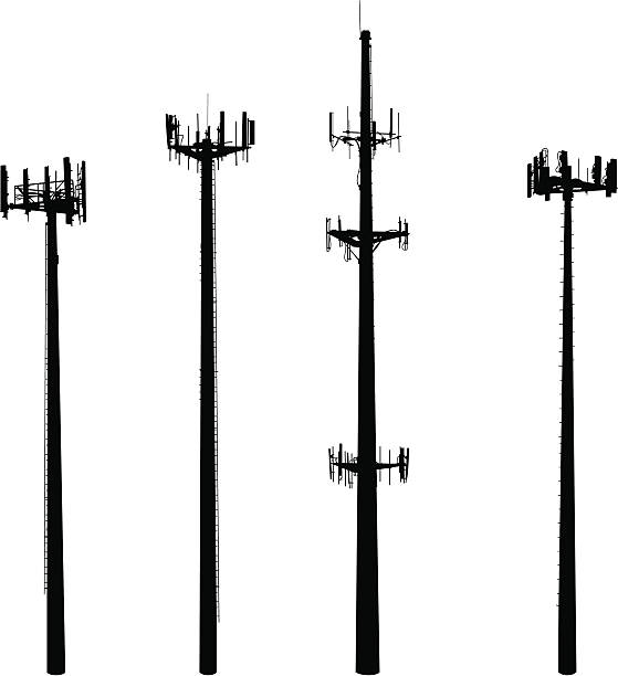 Cell Phone Towers They're big, they're ugly and they're multiplying!  Vector silhouettes of four cell phone towers. repeater tower stock illustrations