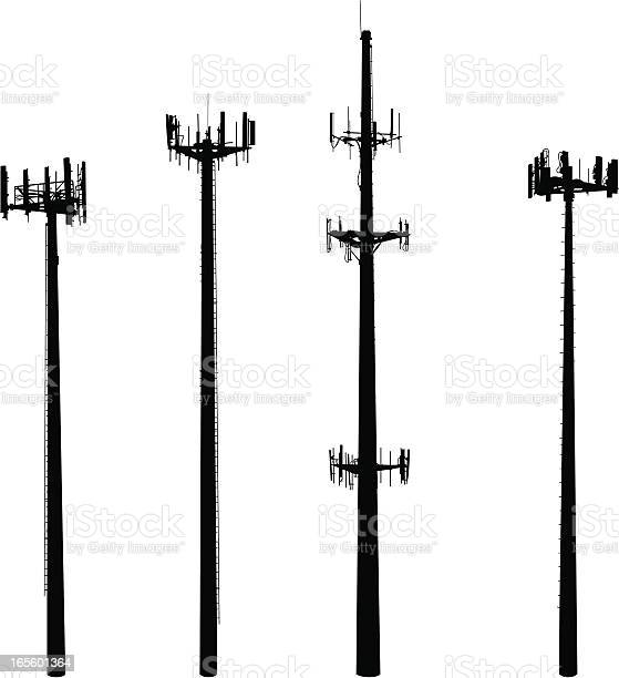 Cell Phone Towers Stock Illustration - Download Image Now