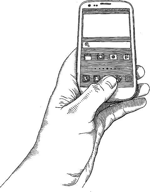 мобильного телефон - hand holding phone stock illustrations