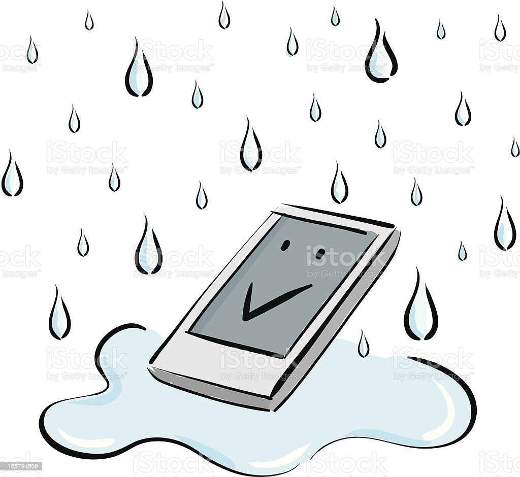 cell phone water-proofing vector art illustration