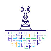 Flat line vector icon illustration of cell tower range with abstract background.