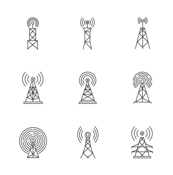 5G cell towers and antennas pixel perfect linear icons set. Fast connection. Mobile network coverage. Customizable thin line contour symbols. Isolated vector outline illustrations. Editable stroke 5G cell towers and antennas pixel perfect linear icons set. Fast connection. Mobile network coverage. Customizable thin line contour symbols. Isolated vector outline illustrations. Editable stroke tower stock illustrations