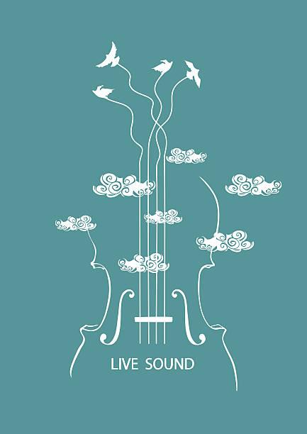 stockillustraties, clipart, cartoons en iconen met cello and birds in the sky - viool
