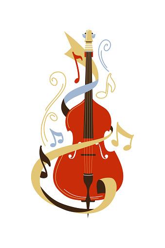 Cello flat vector illustration