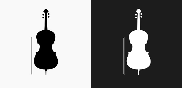 Cello Icon on Black and White Vector Backgrounds