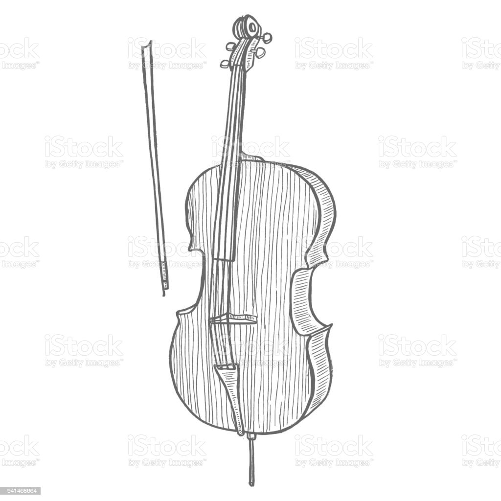 Cello In Hand Drawn Style Royalty Free Handdrawn Stock Vector Art