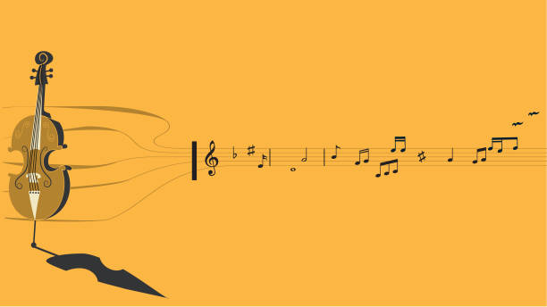 Cello, musical notes, birds and pentagram - illustrazione arte vettoriale
