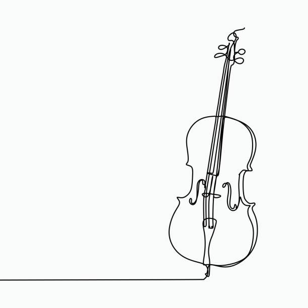 cello-vektor mit einer linie kunstzeichnung. - menschliches körperteil stock-grafiken, -clipart, -cartoons und -symbole