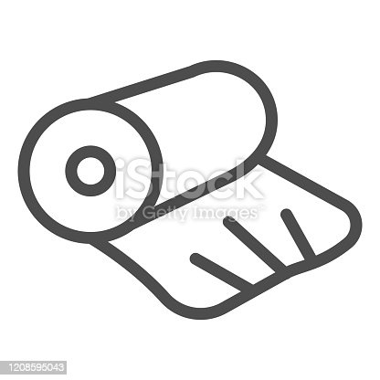 istock Cellophane line icon. Cellophane tape, roll packaging. Plastic products design concept, outline style pictogram on white background, use for web and app. Eps 10. 1208595043