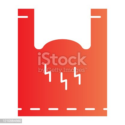 istock Cellophane package flat icon. Polyethylene pack with handles. Plastic products design concept, gradient style pictogram on white background. Vector graphics. 1210584560