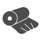 Cellophane solid icon. Cellophane tape, roll packaging. Plastic products design concept, glyph style pictogram on white background, use for web and app. Eps 10