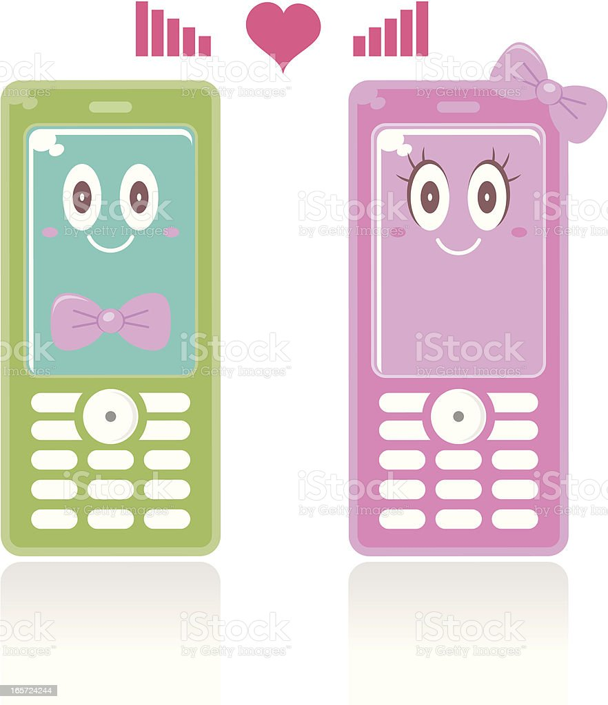 Cellphone Couple: Good Quality Signals Of Love royalty-free stock vector art