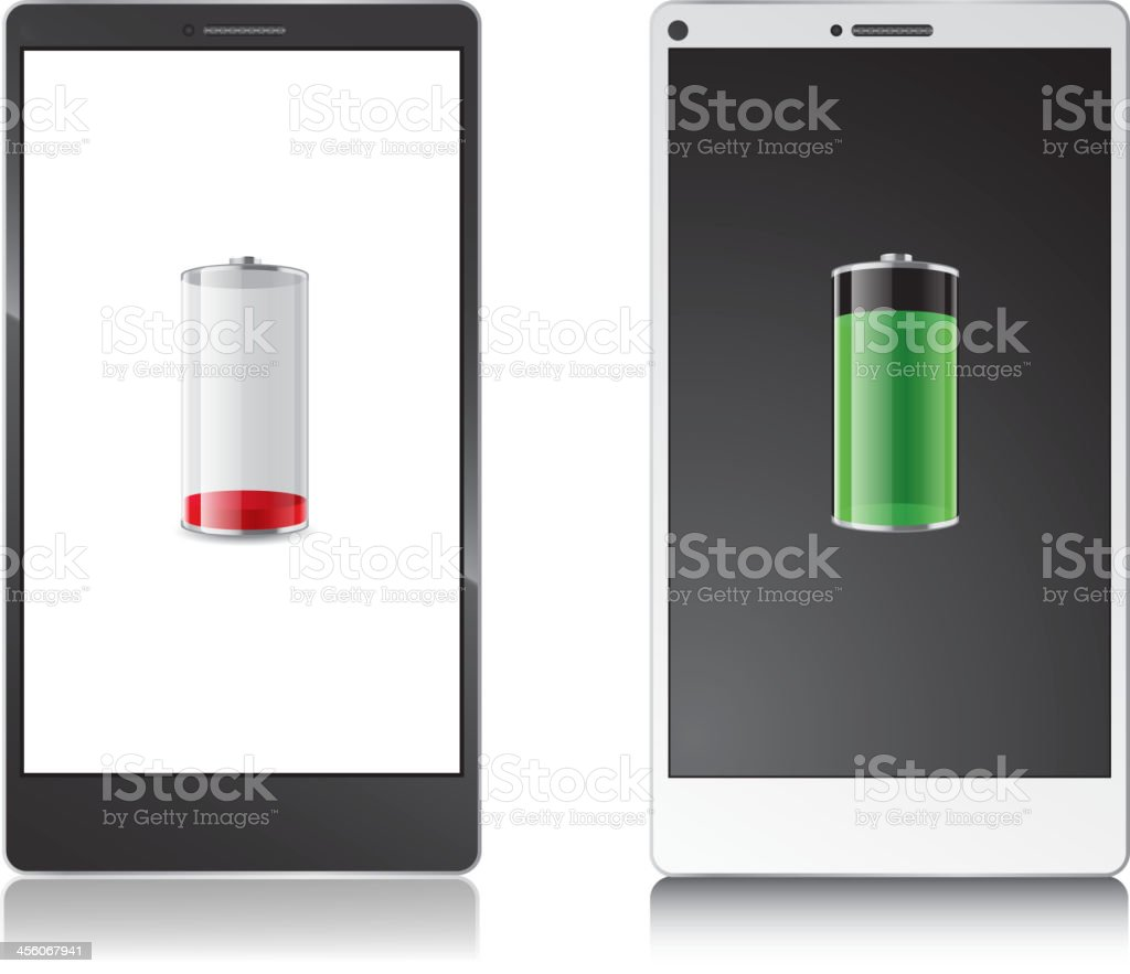 Cellphone power display vector art illustration