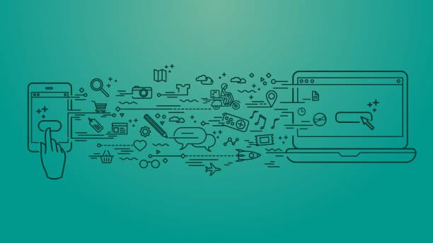 Cellphone to computer files transfer vector art illustration