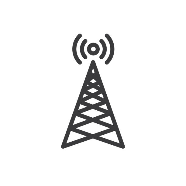Cellphone tower icon with emitting pinging transmission waves Cellphone tower icon w emitting pinging transmission waves repeater tower stock illustrations