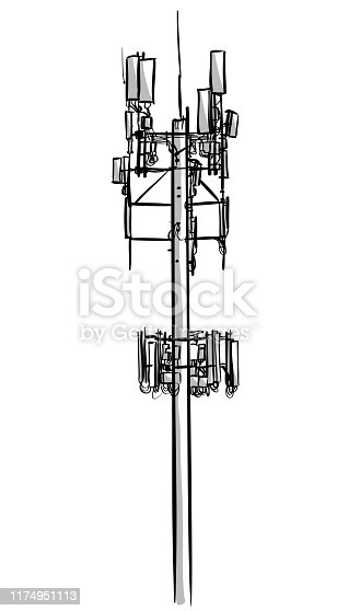 Sketch of a tall cellphone tower